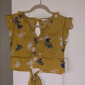 NWT Mustard yellow tied open back crop top